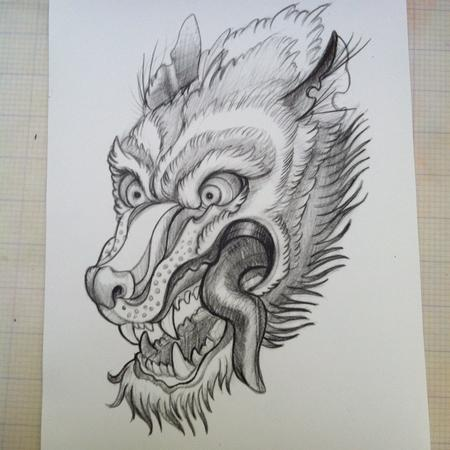 Tattoos - Wolf sketch for potential tattoo - 68226